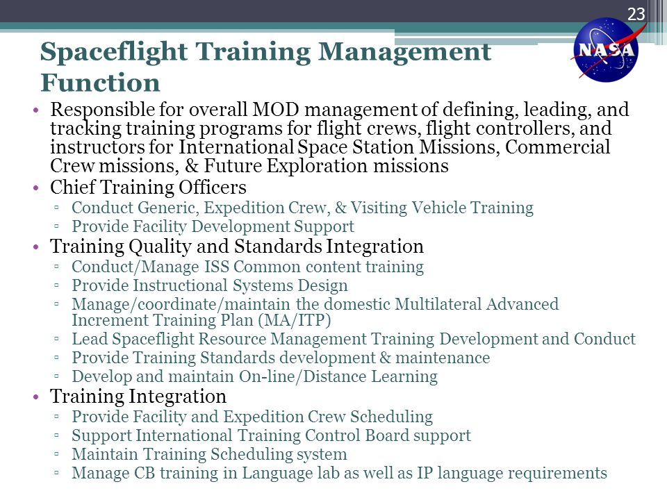 Spaceflight Training Management Function