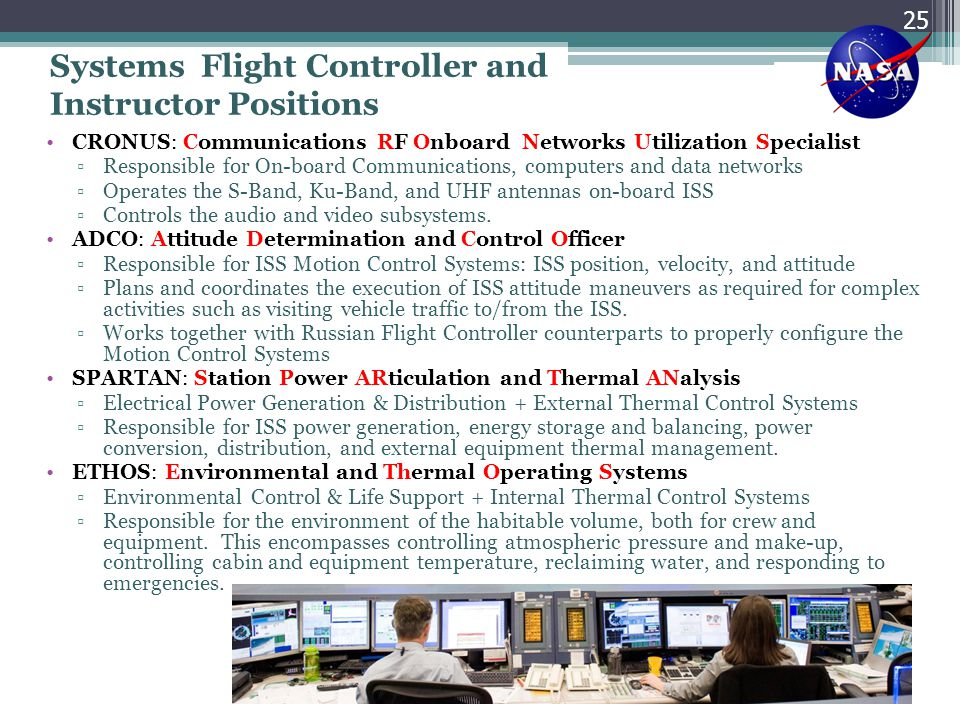 Systems Flight Controller and Instructor Positions