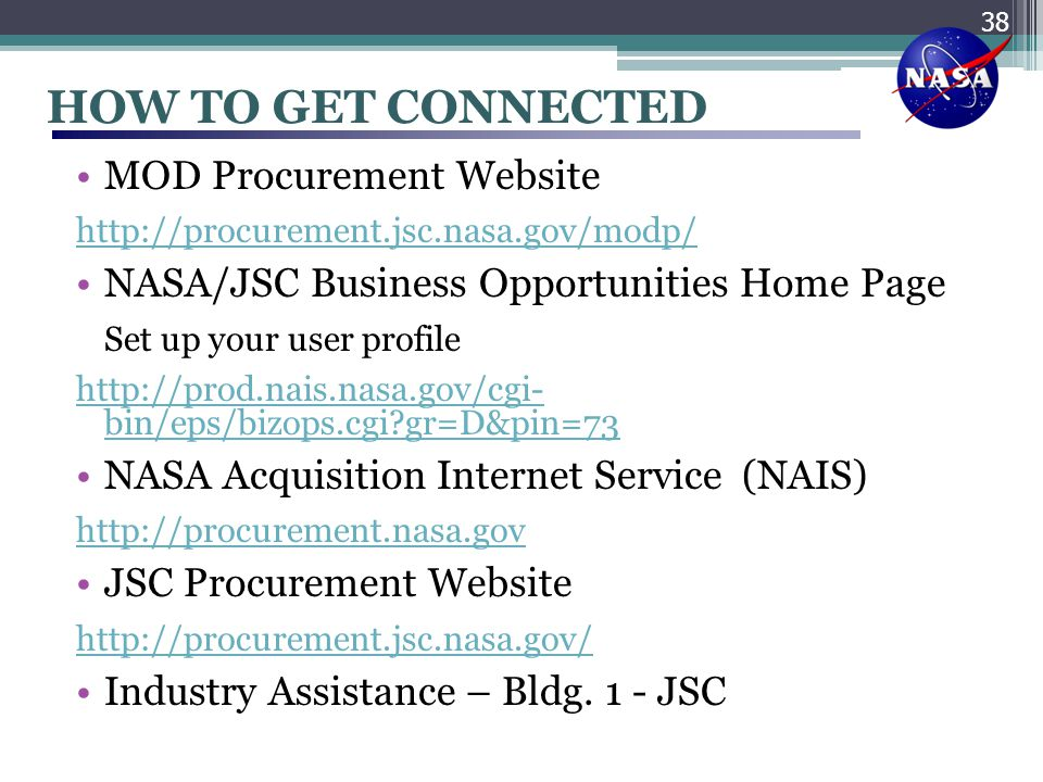 HOW TO GET CONNECTED MOD Procurement Website