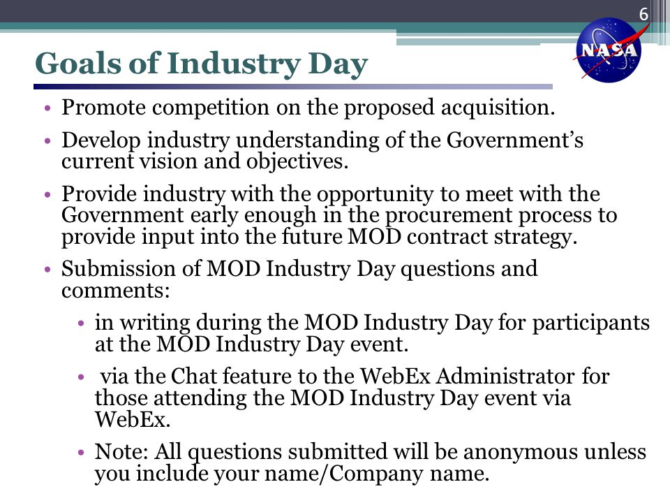 Goals of Industry Day Promote competition on the proposed acquisition.
