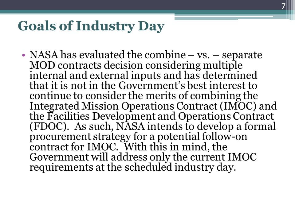 Goals of Industry Day