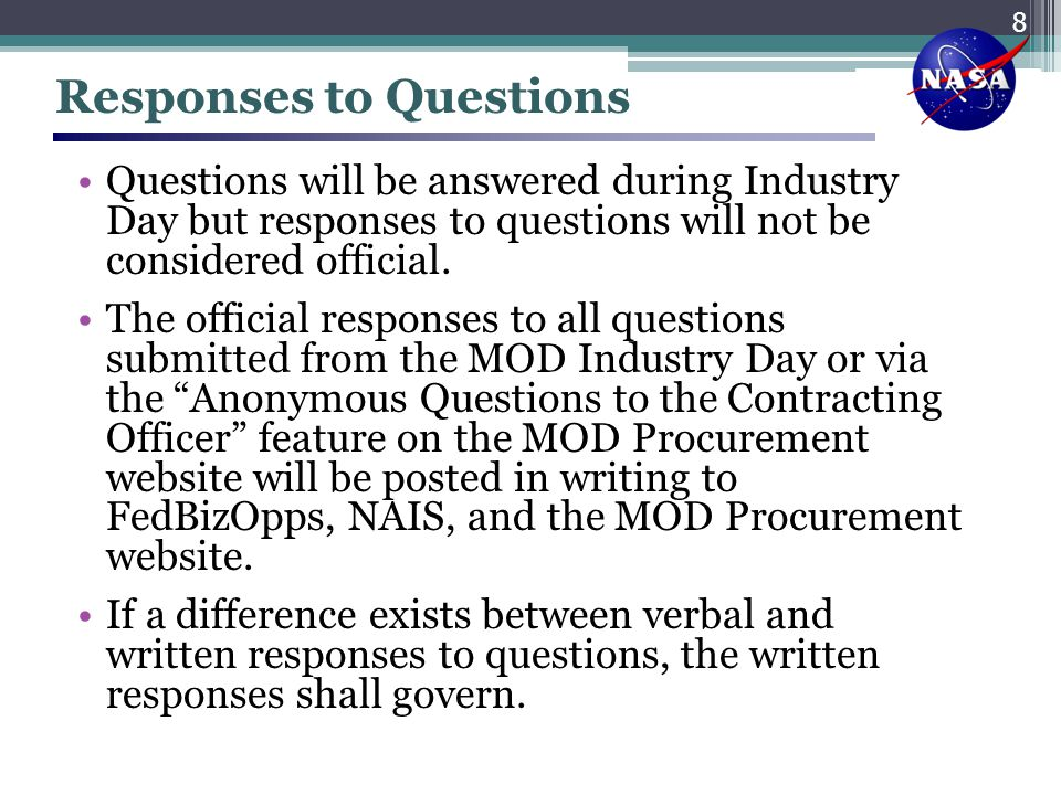 Responses to Questions