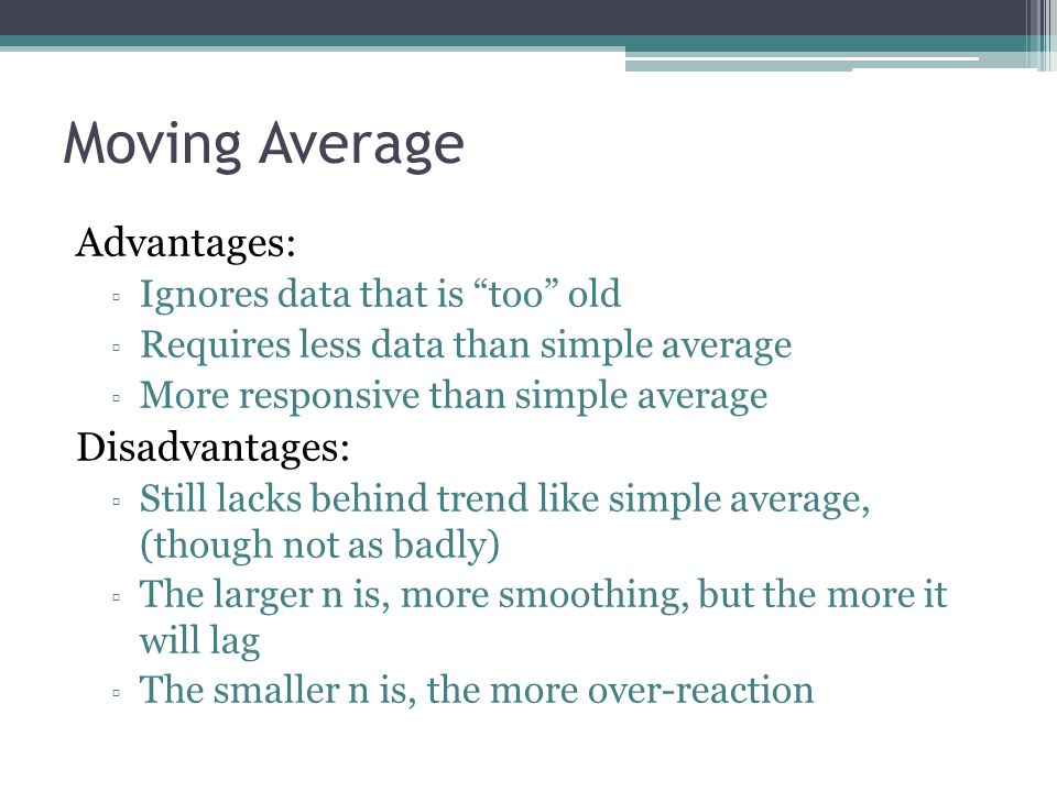 Moving Average Advantages: Disadvantages: