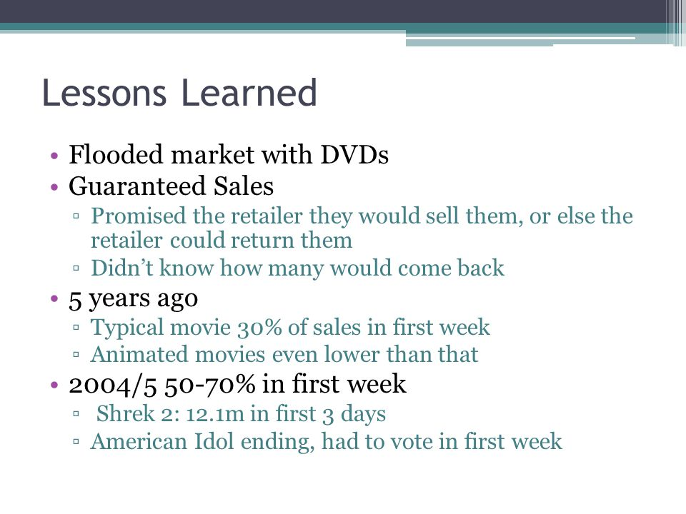 Lessons Learned Flooded market with DVDs Guaranteed Sales 5 years ago