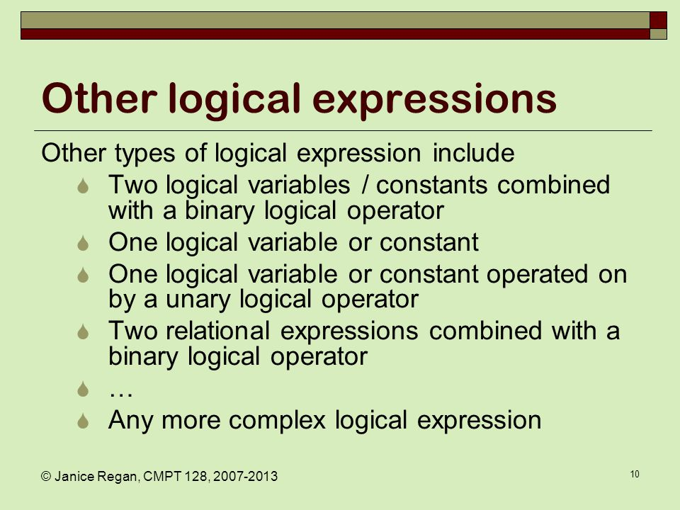 Binary Logical Operators C, C++
