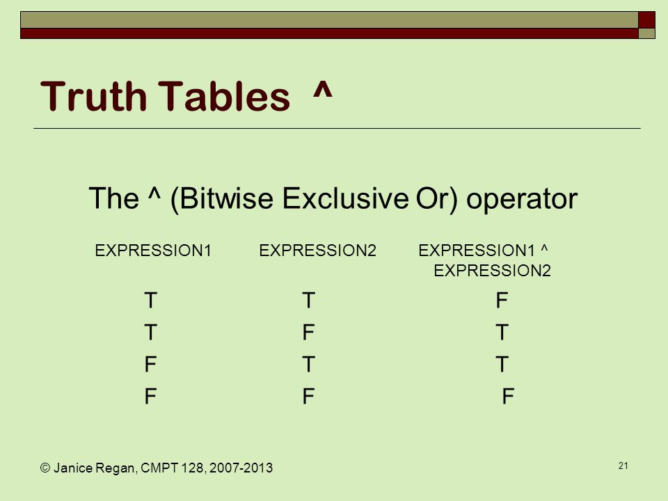 Other bitwise operators