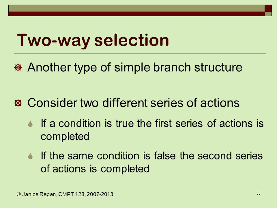 Flowchart: two way selection