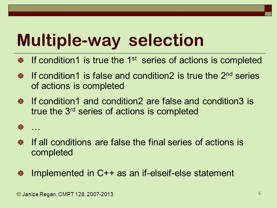 Selection: decision statements