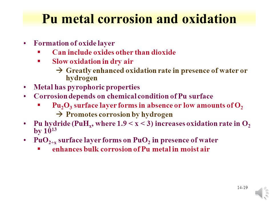 Pu metal corrosion and oxidation