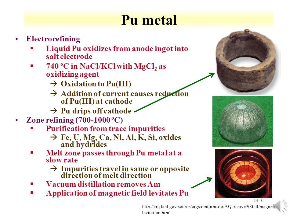Pu metal Electrorefining