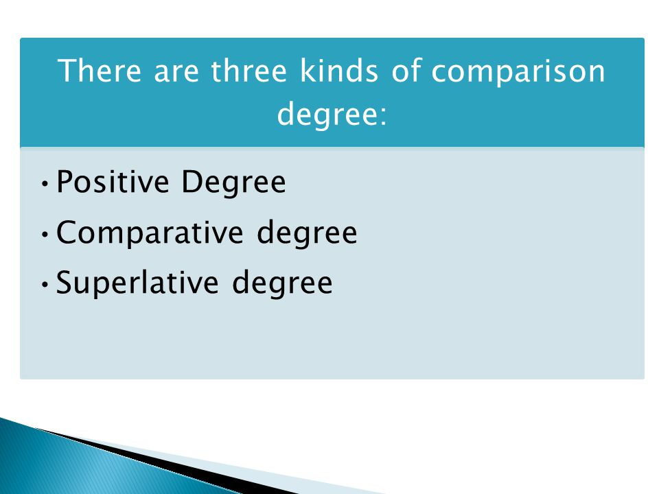 There are three kinds of comparison degree: