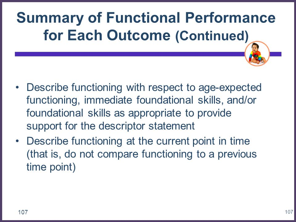 Summary of Functional Performance for Each Outcome (Continued)