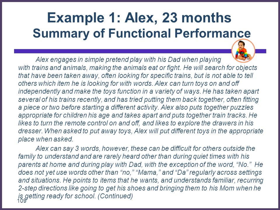 Example 1: Alex, 23 months Summary of Functional Performance