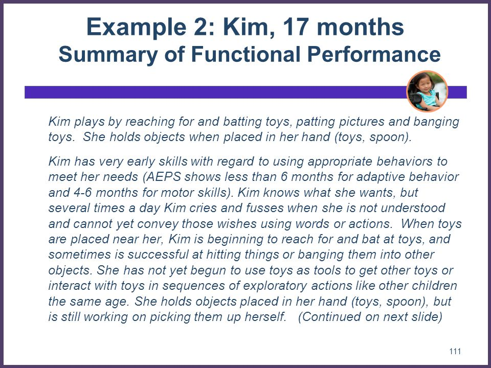 Example 2: Kim, 17 months Summary of Functional Performance