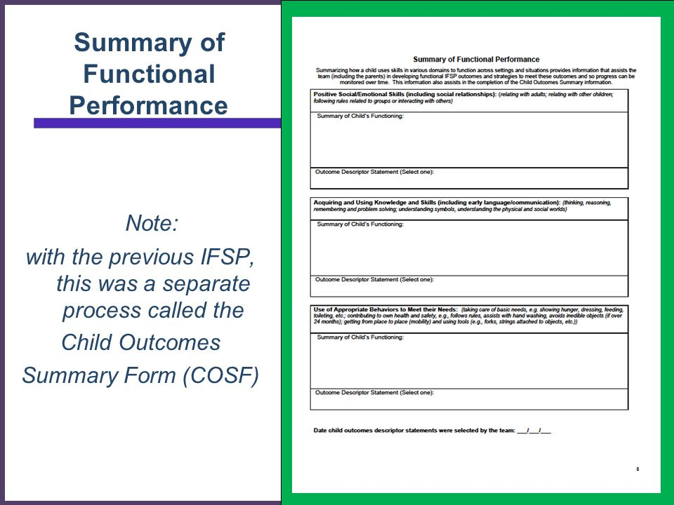 Summary of Functional Performance