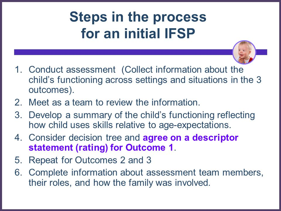 Steps in the process for an initial IFSP
