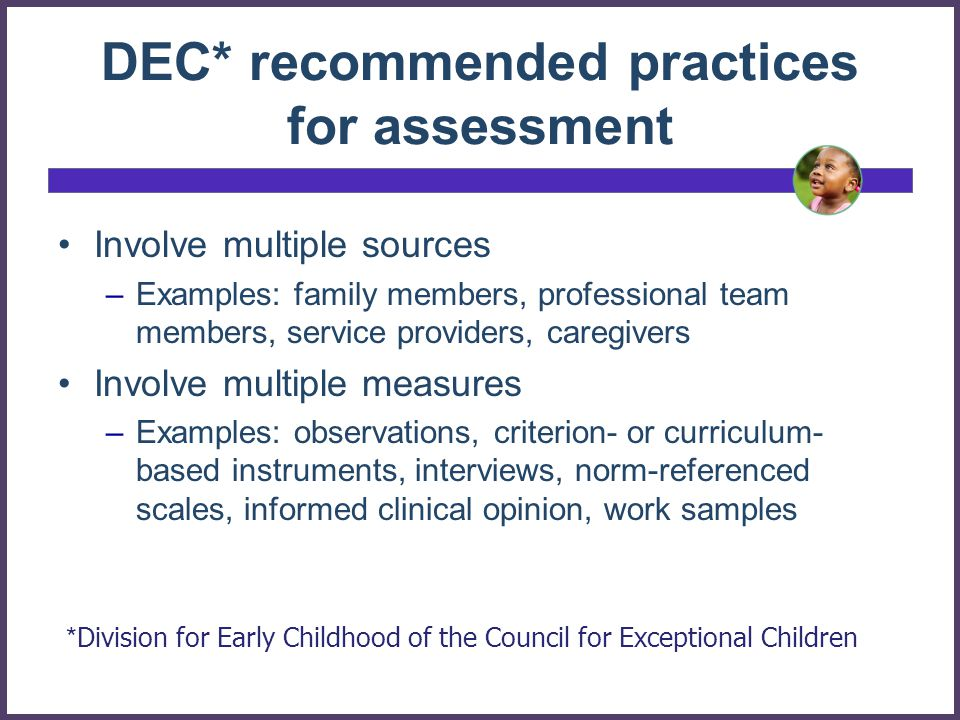 DEC* recommended practices for assessment