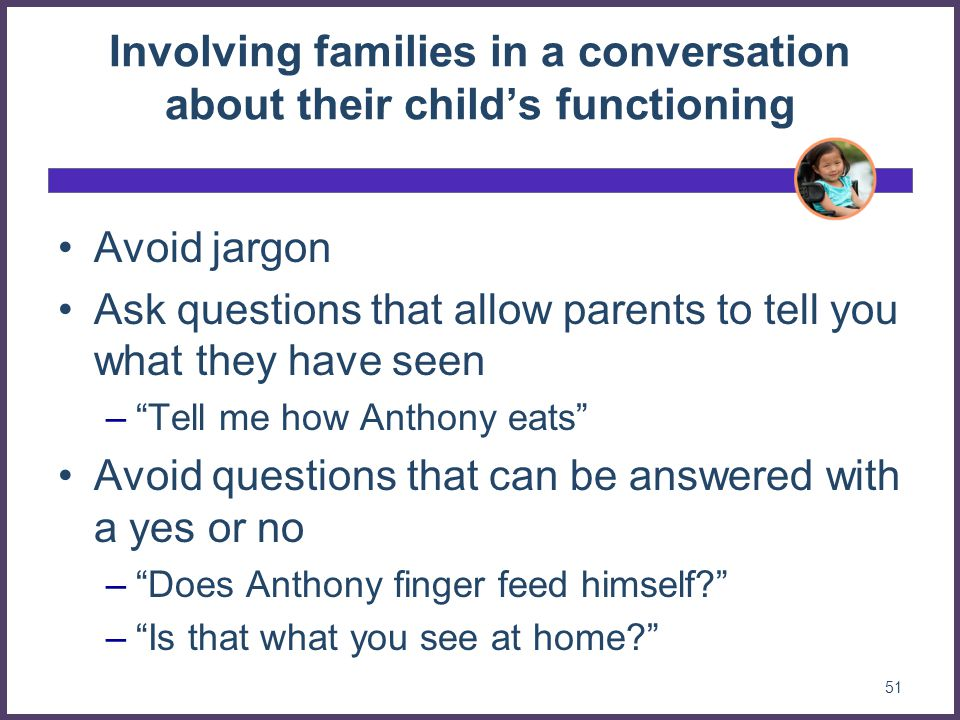Involving families in a conversation about their child's functioning