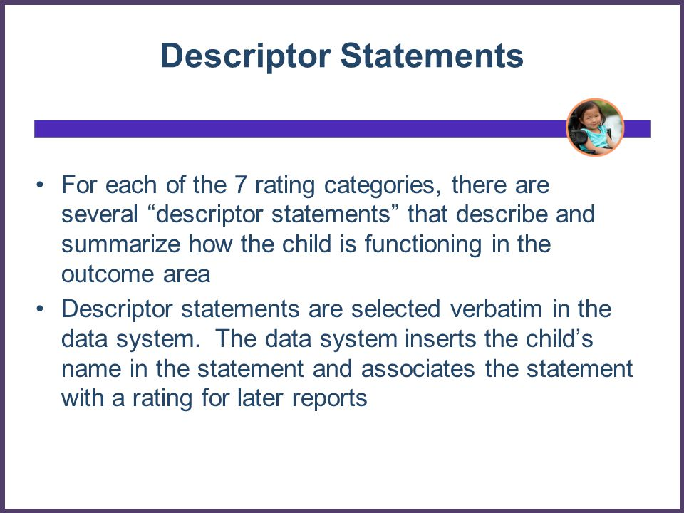 Descriptor Statements