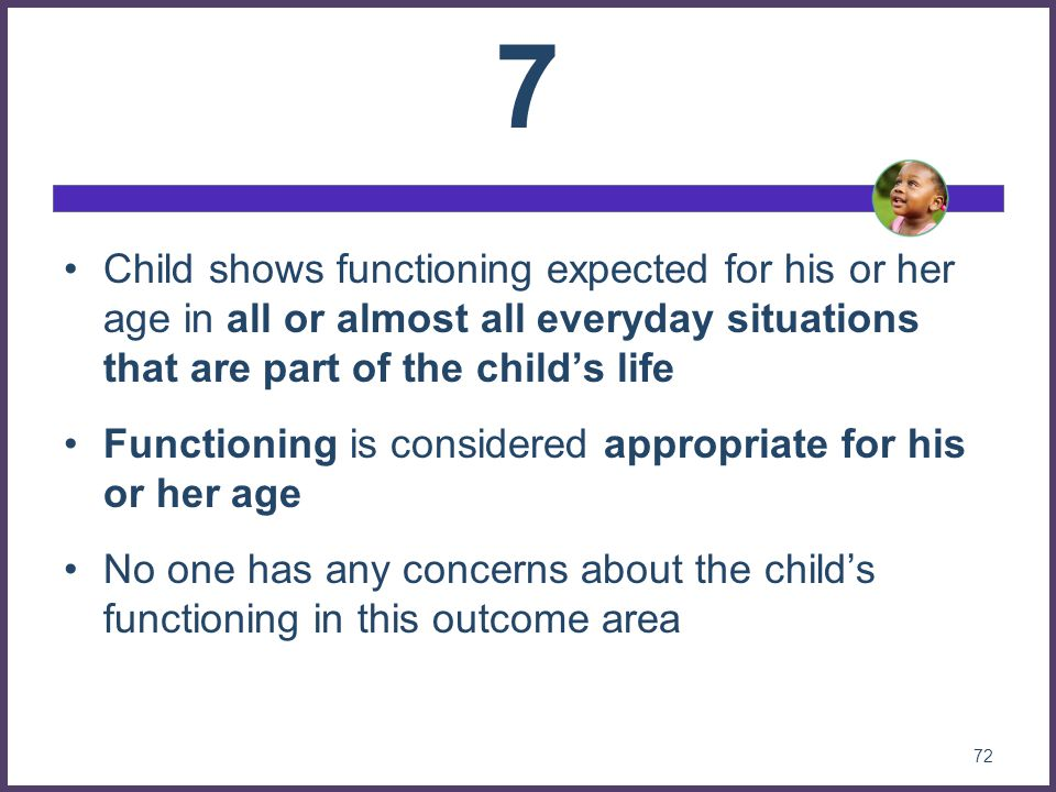 7 Child shows functioning expected for his or her age in all or almost all everyday situations that are part of the child's life.