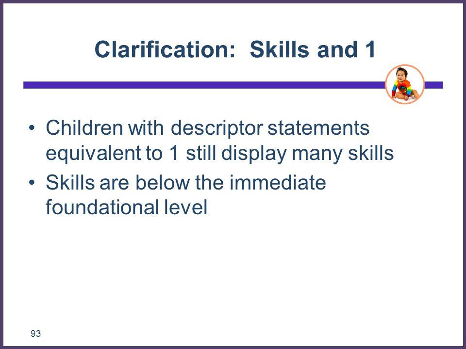 Clarification: Skills and 1