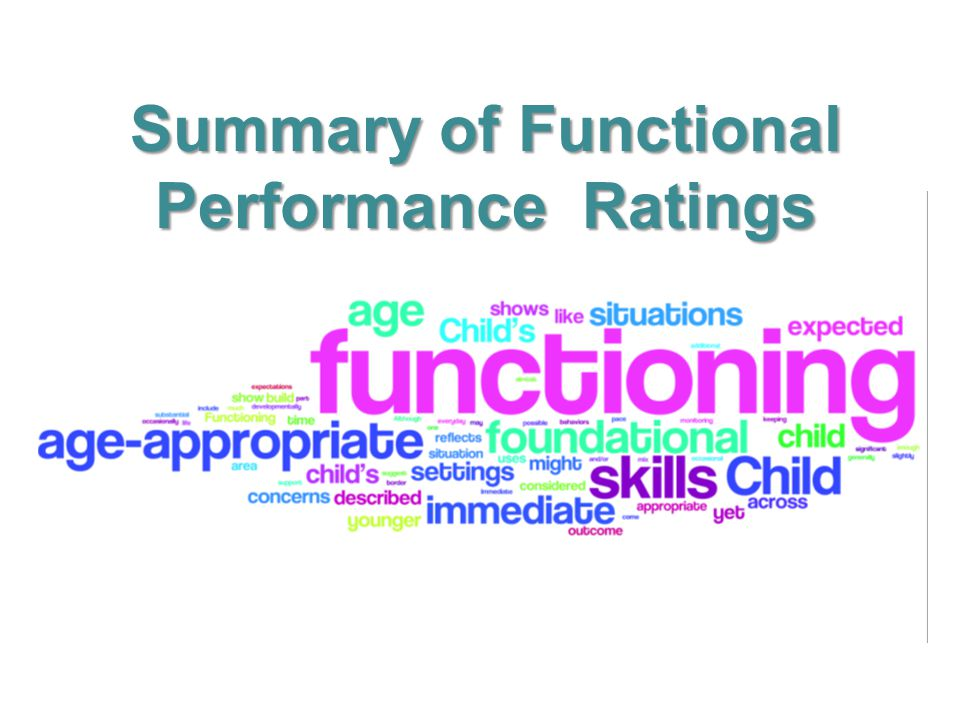 Summary of Functional Performance Ratings