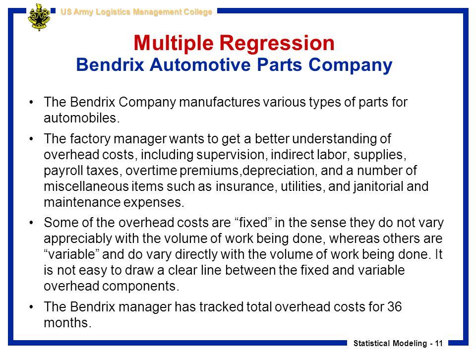 Multiple Regression Bendrix Automotive Parts Company