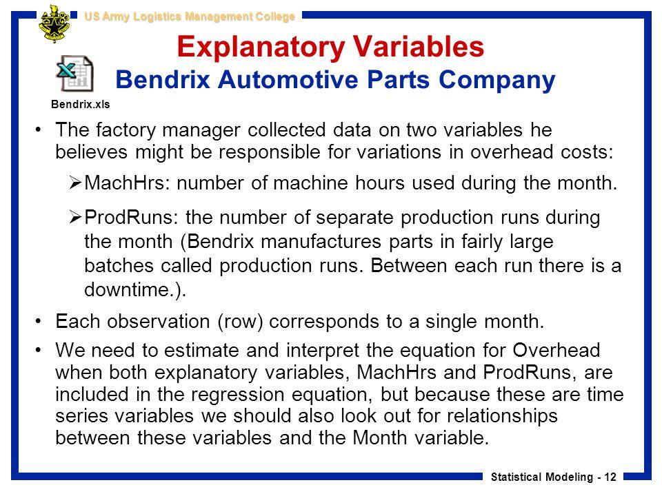 Explanatory Variables Bendrix Automotive Parts Company