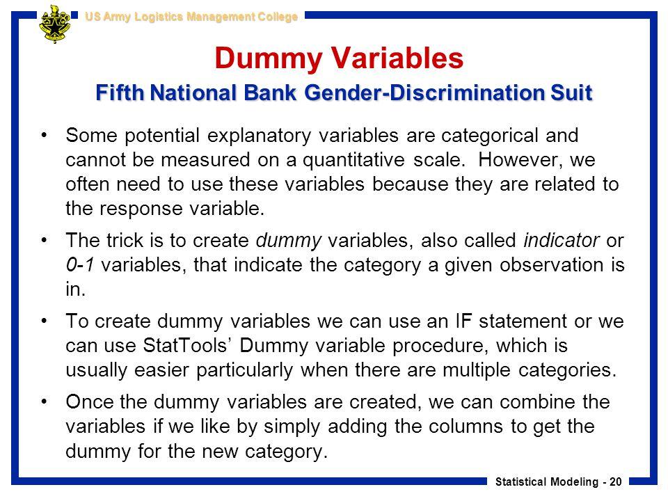 Dummy Variables Fifth National Bank Gender-Discrimination Suit