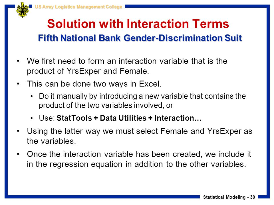 Solution with Interaction Terms Fifth National Bank Gender-Discrimination Suit
