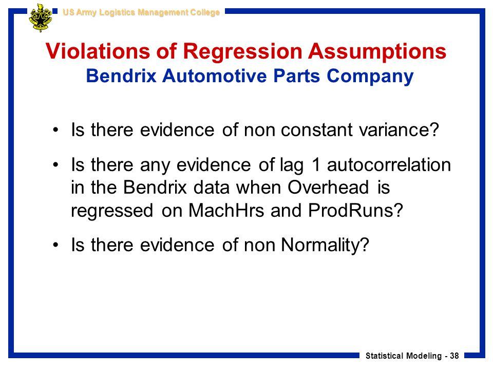 Violations of Regression Assumptions Bendrix Automotive Parts Company