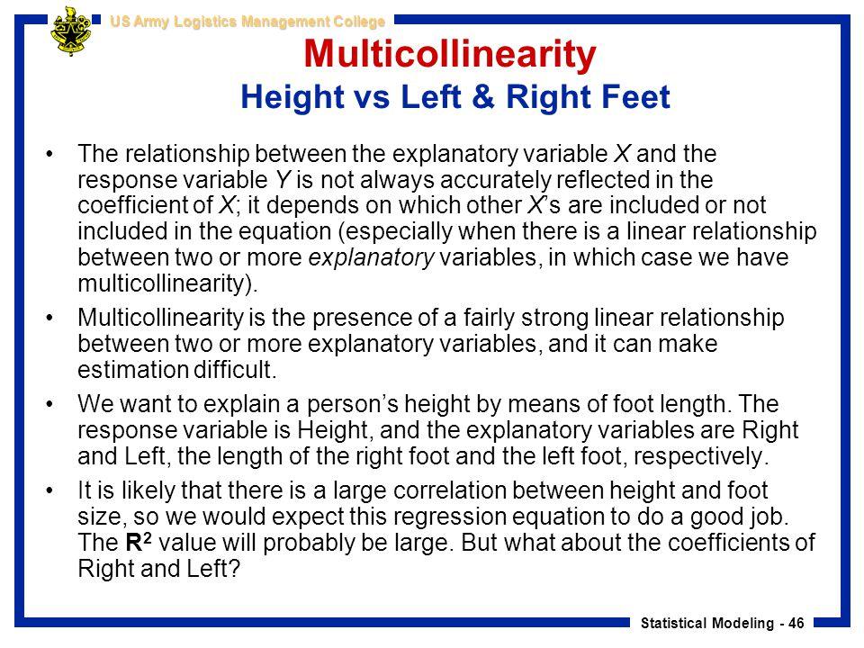 Multicollinearity Height vs Left & Right Feet