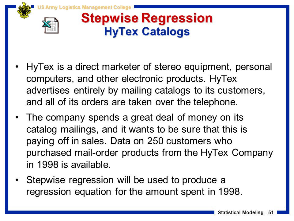 Stepwise Regression HyTex Catalogs