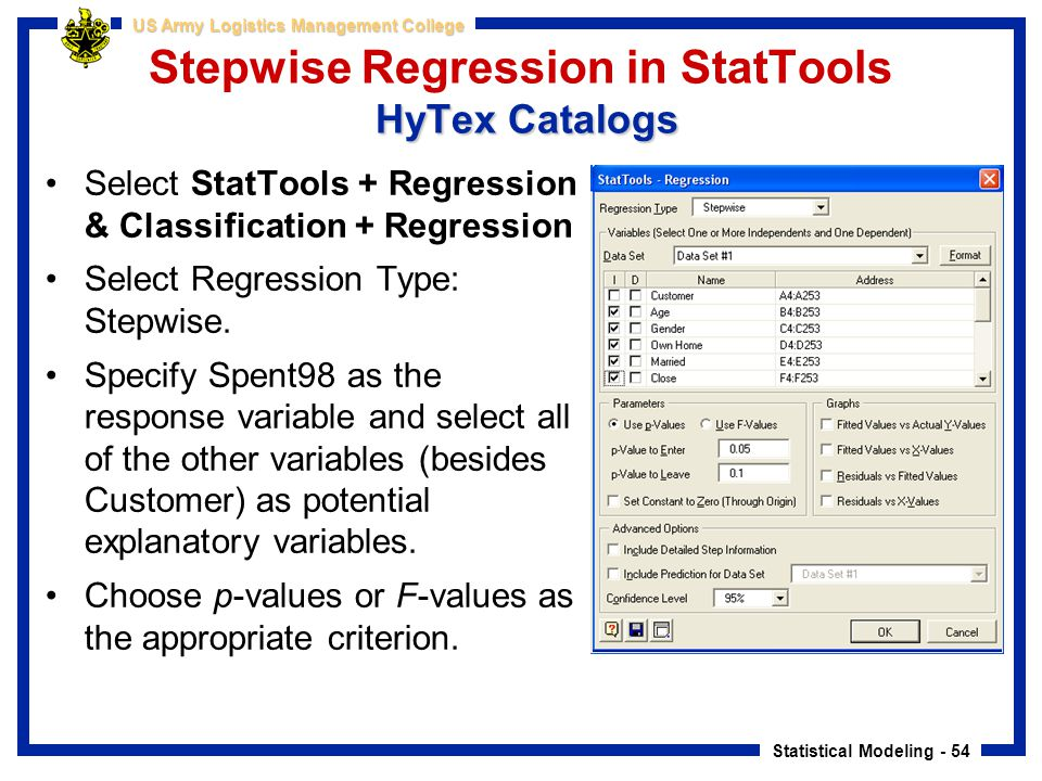Stepwise Regression in StatTools HyTex Catalogs