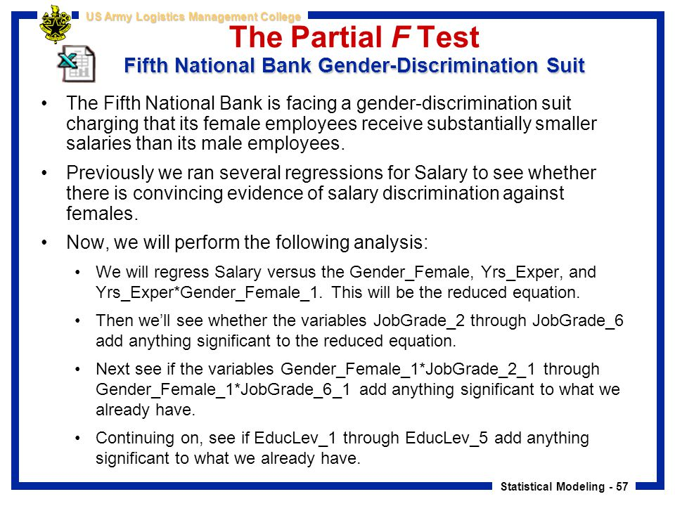 The Partial F Test Fifth National Bank Gender-Discrimination Suit