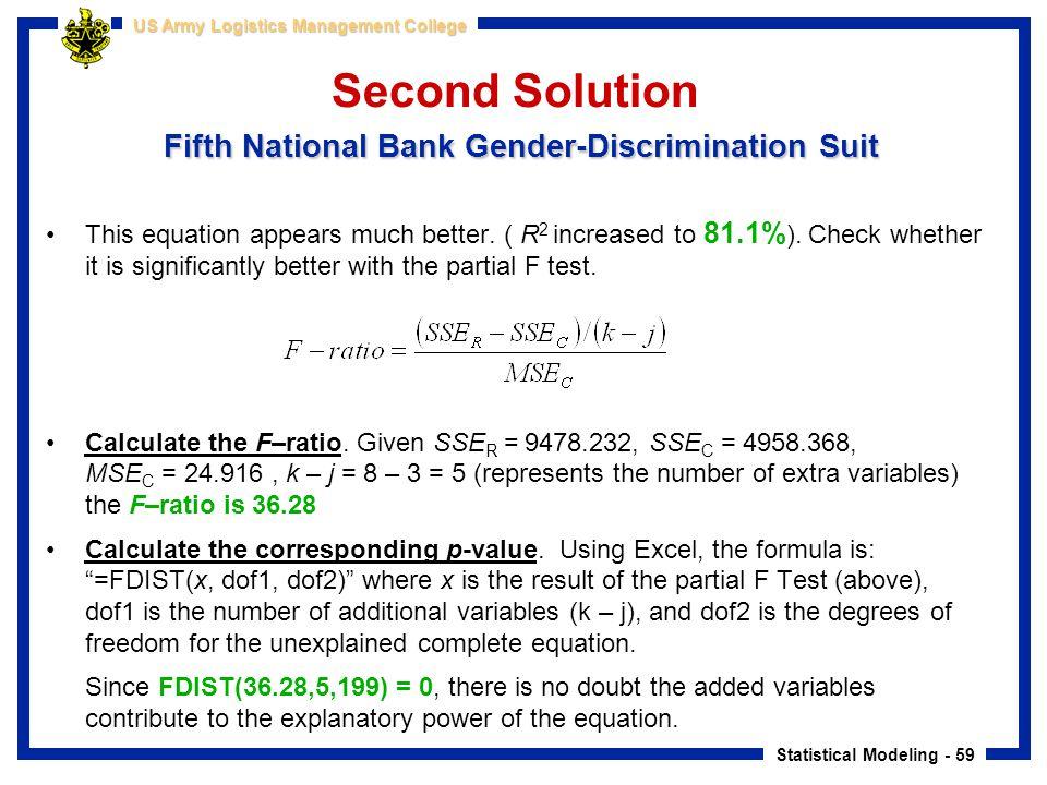 Second Solution Fifth National Bank Gender-Discrimination Suit