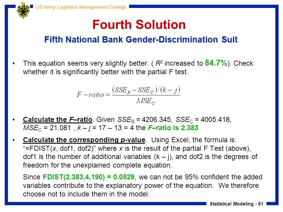 Fourth Solution Fifth National Bank Gender-Discrimination Suit