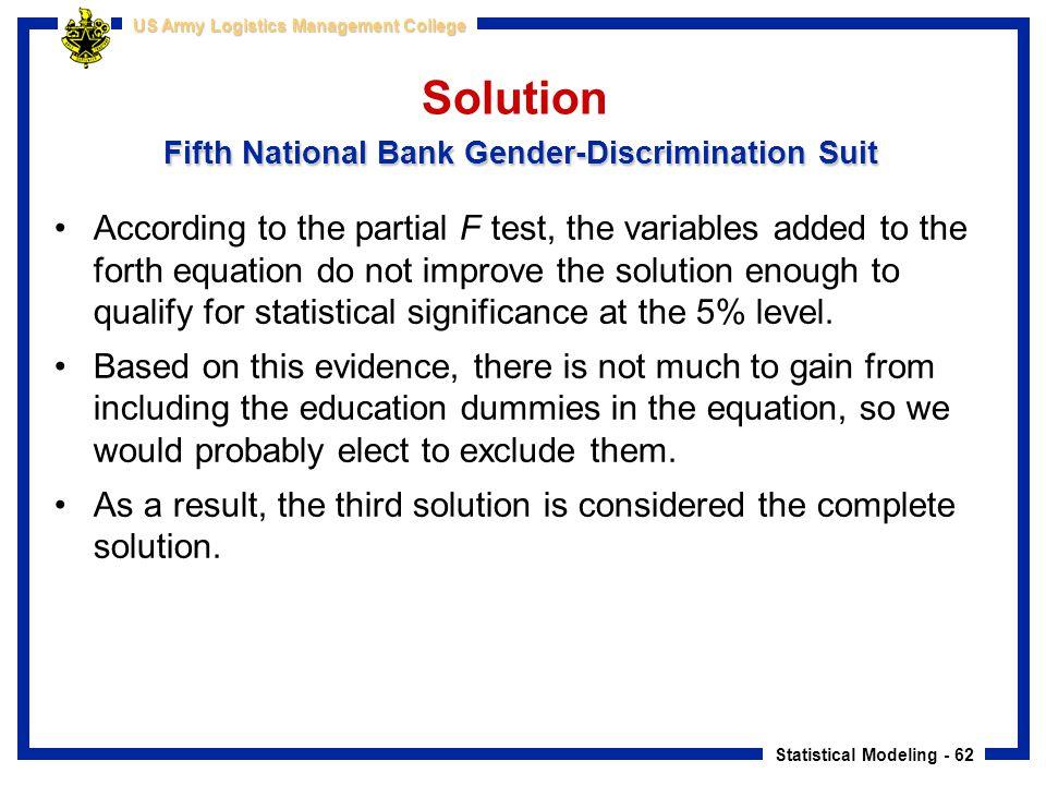 Solution Fifth National Bank Gender-Discrimination Suit
