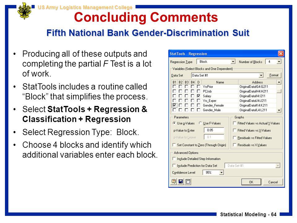 Concluding Comments Fifth National Bank Gender-Discrimination Suit