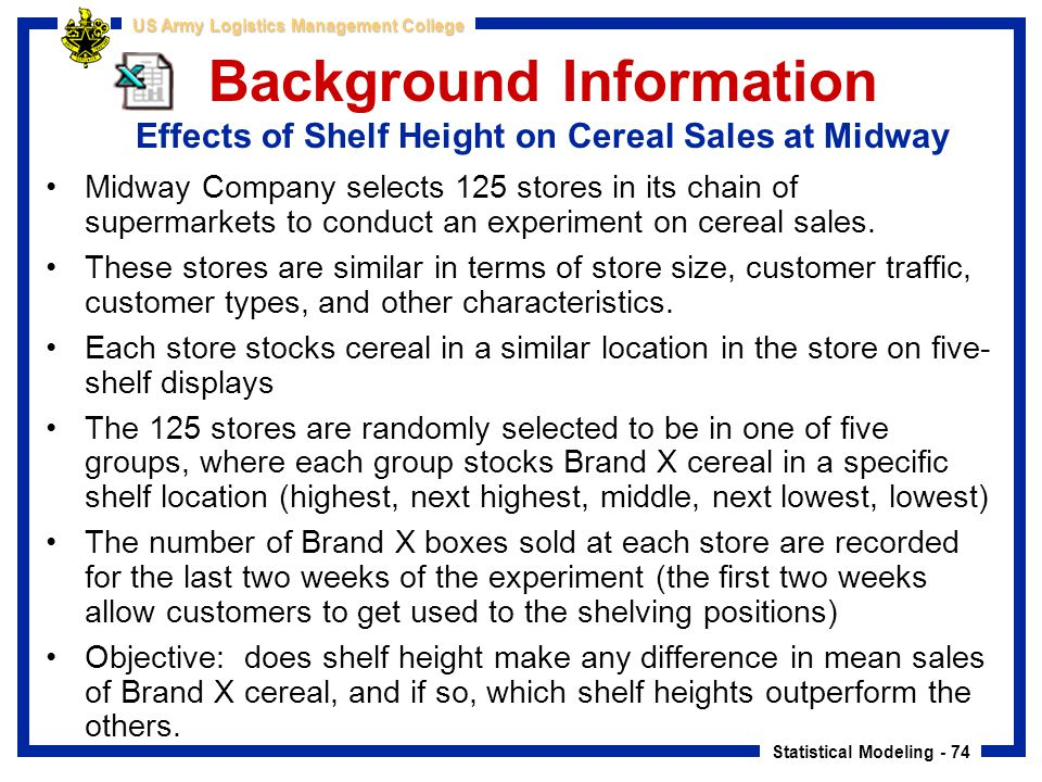 Background Information Effects of Shelf Height on Cereal Sales at Midway