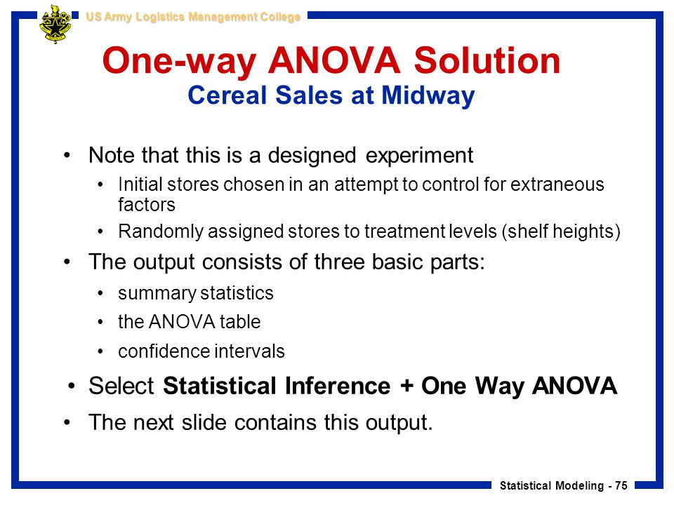 One-way ANOVA Solution Cereal Sales at Midway
