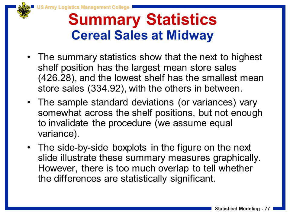 Summary Statistics Cereal Sales at Midway