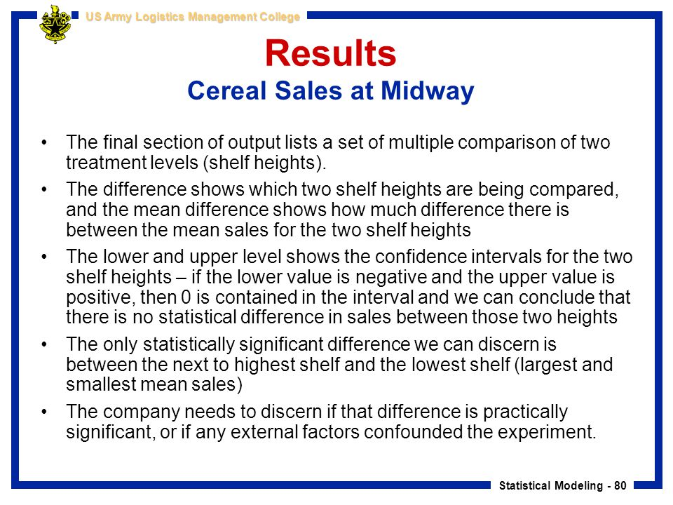Results Cereal Sales at Midway
