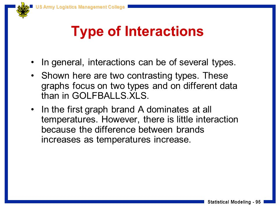 Type of Interactions In general, interactions can be of several types.