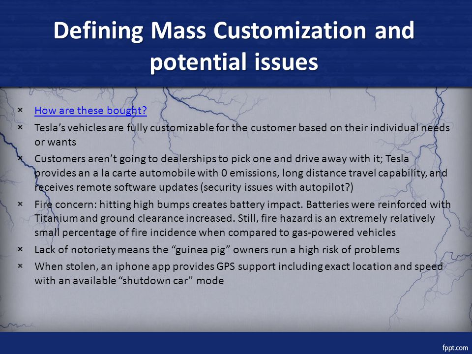 Defining Mass Customization and potential issues