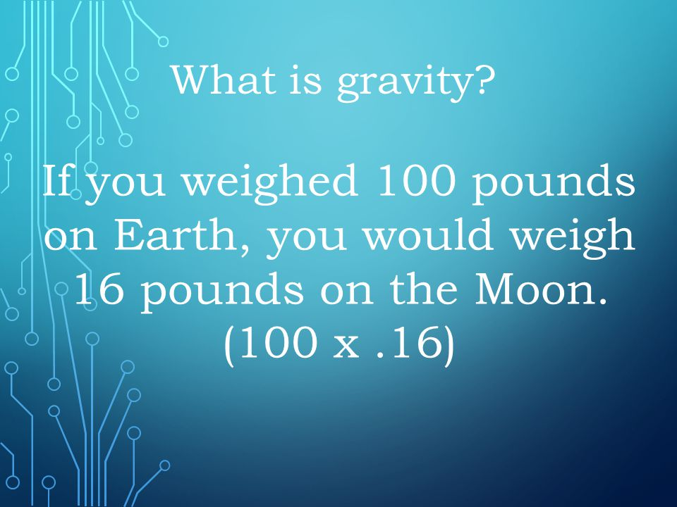 What is gravity. If you weighed 100 pounds on Earth, you would weigh 16 pounds on the Moon.
