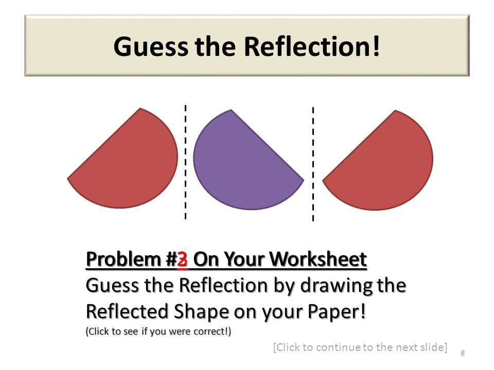 Guess the Reflection! Problem #2 On Your Worksheet