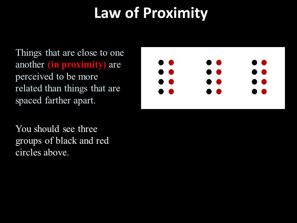 Law of Proximity Things that are close to one another (in proximity) are perceived to be more related than things that are spaced farther apart.