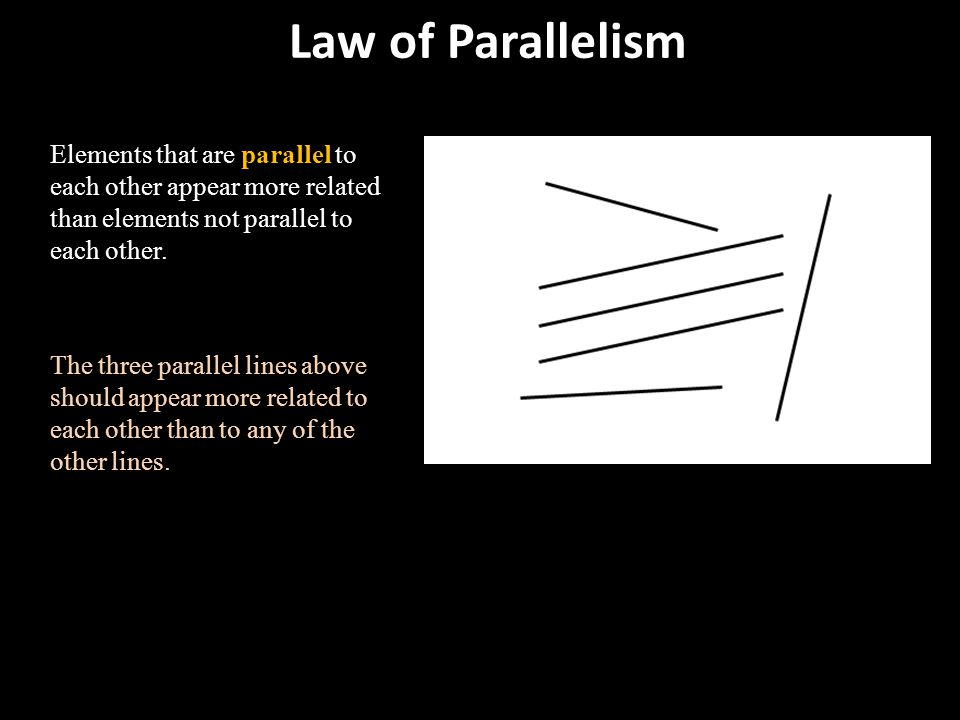 Law of Parallelism Elements that are parallel to each other appear more related than elements not parallel to each other.