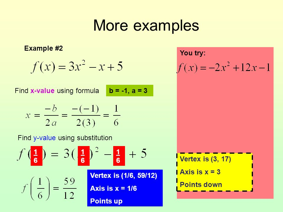 More examples Example #2 You try: Vertex is _____ Axis is _______